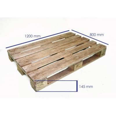 Palet de madera de un uso 1220x800x145 mm. 11 tablas 9 tacos aglomerado 78 clavos