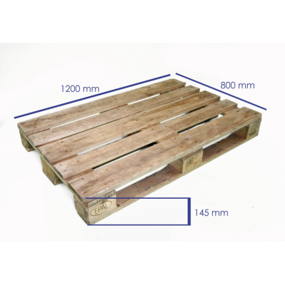 Palet de madera NUEVO 1220x800x145 mm. 11 tablas 9 tacos aglomerado 78 clavos